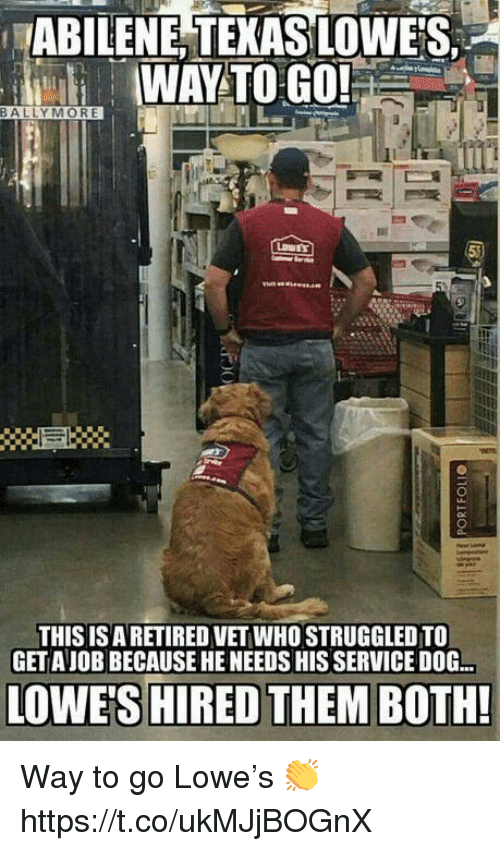 Memes, Lowes, and Texas: ABILENE TEXAS LOWE'S  WAY TO GO!  THIS ISA RETIRED VET WHO STRUGGLED TO  GET AJOB BECAUSE HE NEEDS HIS SERVICE DOG.  OWE'S HIRED THEM BOTH! Way to go Lowe's 👏 https://t.co/ukMJjBOGnX