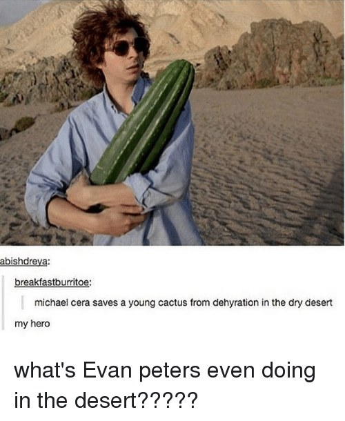 Evan Peters: abishdreya:  breakfastburritoe:  michael cera saves a young cactus from dehyration in the dry desert  my hero what's Evan peters even doing in the desert?????