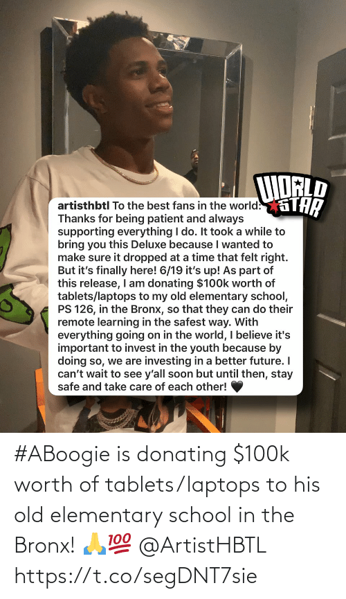 SIZZLE: #ABoogie is donating $100k worth of tablets/laptops to his old elementary school in the Bronx! 🙏💯 @ArtistHBTL https://t.co/segDNT7sie