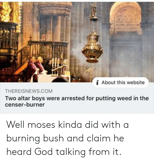 bush: About this website  THEREISNEWS.CcOM  Two altar boys were arrested for putting weed in the  censer-burner Well moses kinda did with a burning bush and claim he heard God talking from it.