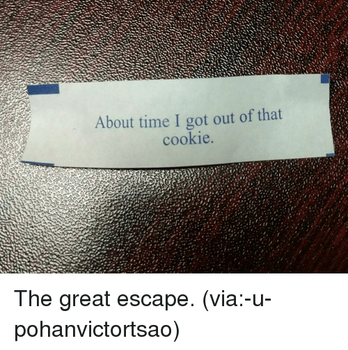SIZZLE: About time I got out of that  cookie The great escape. (via:-u-pohanvictortsao)