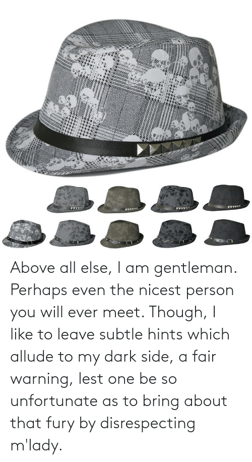 mlady: Above all else, I am gentleman. Perhaps even the nicest person you will ever meet. Though, I like to leave subtle hints which allude to my dark side, a fair warning, lest one be so unfortunate as to bring about that fury by disrespecting m'lady.