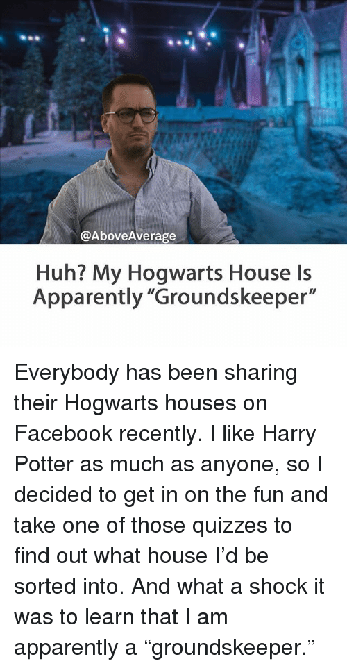 huh my hogwarts house is apparently groundskeeper everybody has been sharing their hogwarts. Black Bedroom Furniture Sets. Home Design Ideas