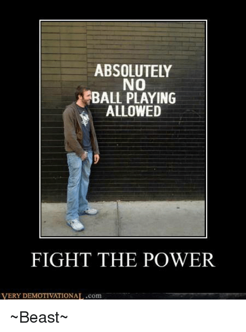 No Balls: ABSOLUTELY  NO  BALL PLAYING  ALLOWED  FIGHT THE POWER  VERY D  IONAL.com ~Beast~