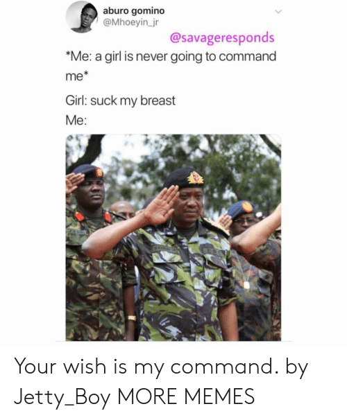 breast: aburo gomino  @Mhoeyin_jr  @savageresponds  *Me: a girl is never going to command  me*  Girl: suck my breast  Me:  KINGA Your wish is my command. by Jetty_Boy MORE MEMES
