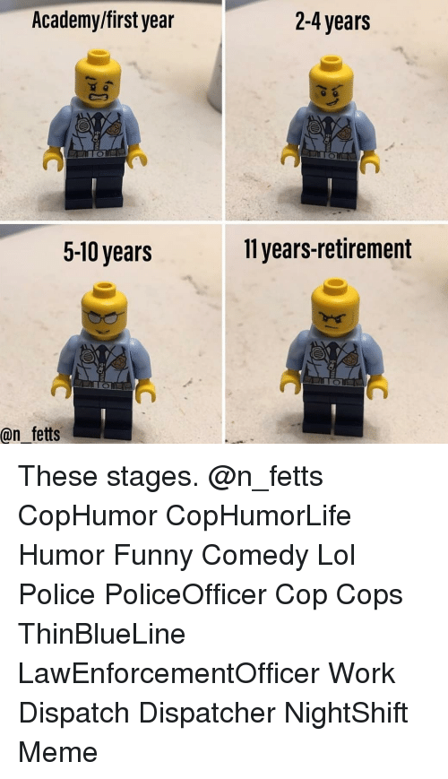 Dispatcher: Academy/first year  2-4 years  5-10 years  11 years-retirement  @n fetts These stages. @n_fetts CopHumor CopHumorLife Humor Funny Comedy Lol Police PoliceOfficer Cop Cops ThinBlueLine LawEnforcementOfficer Work Dispatch Dispatcher NightShift Meme
