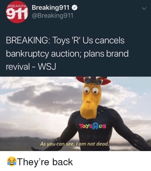 Toys R Us: Acar Breaking911  BREAKING  @Breaking911  BREAKING: Toys 'R' Us cancels  bankruptcy auction; plans brand  revival - WSJ  @NationOfBagles  As you can see, I am not dead 😂They're back