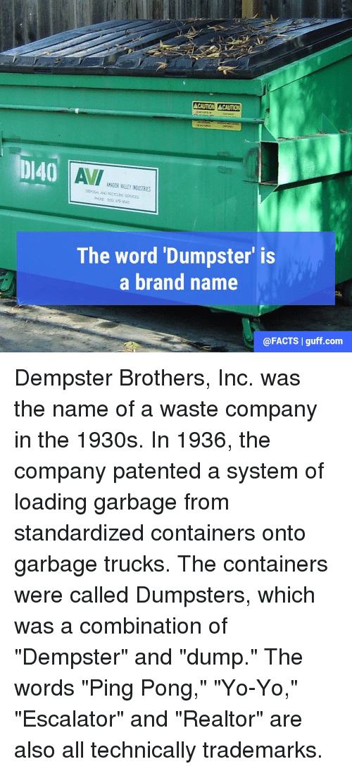 """Dumpstered: ACAUTION CAUTION  DI40  All  The word Dumpster is  a brand name  @FACTS I guff com Dempster Brothers, Inc. was the name of a waste company in the 1930s. In 1936, the company patented a system of loading garbage from standardized containers onto garbage trucks. The containers were called Dumpsters, which was a combination of """"Dempster"""" and """"dump."""" The words """"Ping Pong,"""" """"Yo-Yo,"""" """"Escalator"""" and """"Realtor"""" are also all technically trademarks."""