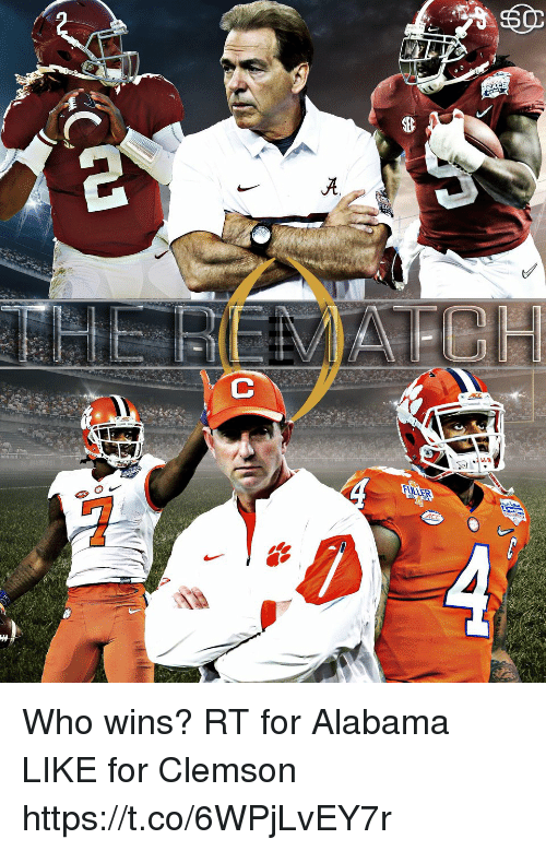 Alabama, Clemson, and Acc: ACC Who wins?  RT for Alabama LIKE for Clemson https://t.co/6WPjLvEY7r