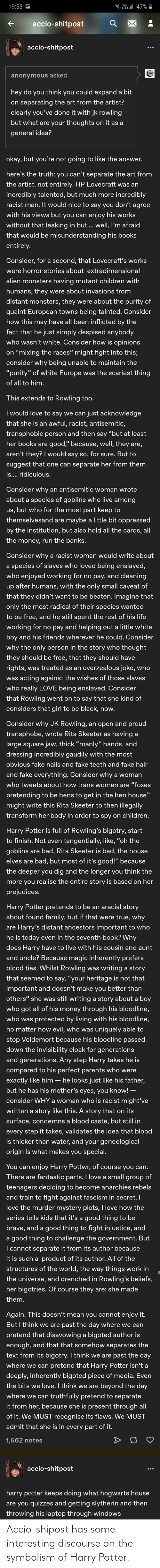 symbolism: Accio-shipost has some interesting discourse on the symbolism of Harry Potter.