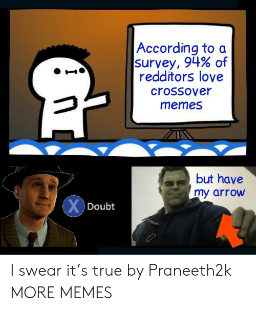 Survey: According to a  survey, 94% of  redditors love  crossover  memes  but have  my arrow  XDoubt I swear it's true by Praneeth2k MORE MEMES