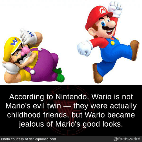 Good Looks: According to Nintendo, Wario is not  Mario's evil twin they were actually  childhood friends, but Wario became  jealous of Mario's good looks  Photo courtesy of danielprimed.com  @factsweird