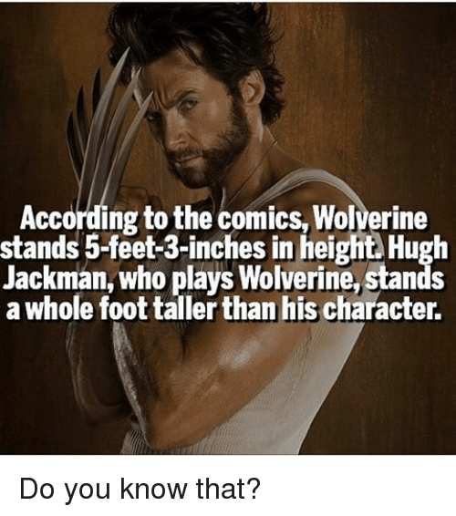 Memes, 🤖, and Feet: According to the comics, Wolverine  stands 5-feet-3-inches in hei  Hugh  Jackman, who plays Wolverine, stands  a whole foot tallerthan his character. Do you know that?