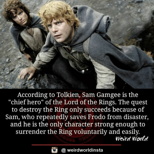 "The Ring: According to Tolkien, Sam Gamgee is the  ""chief hero"" of the Lord of the Rings. The quest  to destroy the Ring only succeeds because of  Sam, who repeatedly saves Frodo from disaster,  and he is the only character strong enough to  surrender the Ring voluntarily and easily  Weird World  a weirdworldinsta"