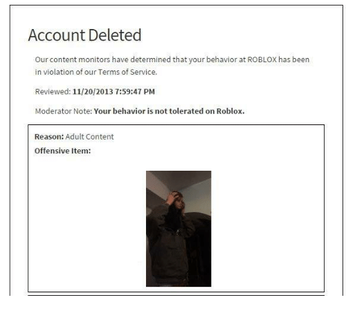 roblox account deleted for no reason
