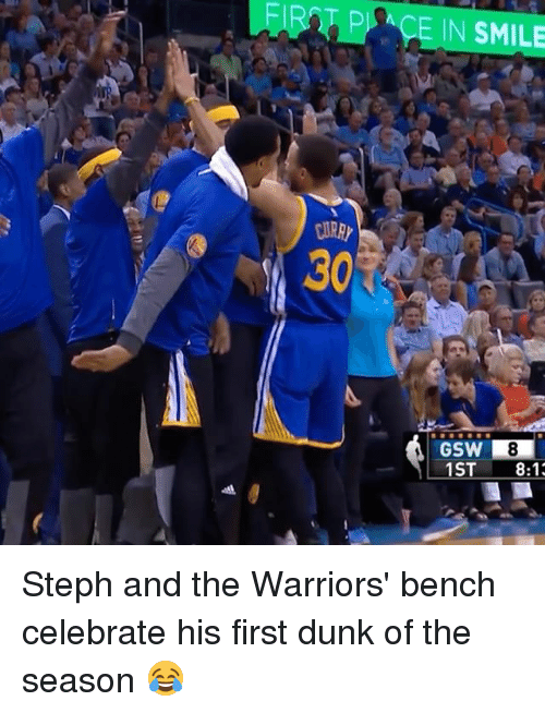 Sports, Ace, and Aces: ACE IN SMILE  30  GSW R8  1ST  8:1 Steph and the Warriors' bench celebrate his first dunk of the season 😂