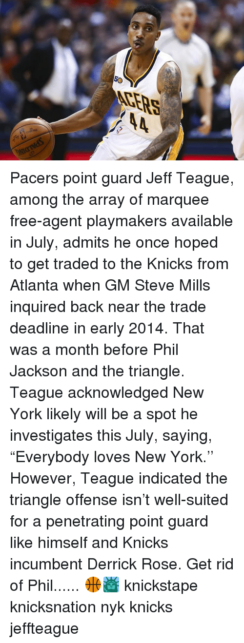 """Derrick Rose, Memes, and 🤖: ACE  RS  h Pacers point guard Jeff Teague, among the array of marquee free-agent playmakers available in July, admits he once hoped to get traded to the Knicks from Atlanta when GM Steve Mills inquired back near the trade deadline in early 2014. That was a month before Phil Jackson and the triangle. Teague acknowledged New York likely will be a spot he investigates this July, saying, """"Everybody loves New York.'' However, Teague indicated the triangle offense isn't well-suited for a penetrating point guard like himself and Knicks incumbent Derrick Rose. Get rid of Phil...... 🏀🗽 knickstape knicksnation nyk knicks jeffteague"""