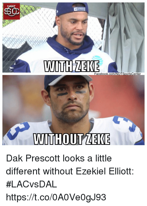 Sports, Com, and Ezekiel: acebook.com/NOTSportsCenter  WITHOUT ZEKE Dak Prescott looks a little different without Ezekiel Elliott: #LACvsDAL https://t.co/0A0Ve0gJ93