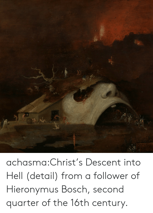 quarter: achasma:Christ's Descent into Hell (detail) from a follower of Hieronymus Bosch, second quarter of the 16th century.