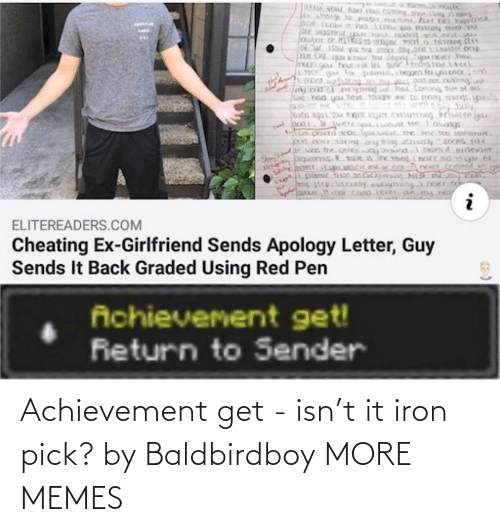 Pick: Achievement get - isn't it iron pick? by Baldbirdboy MORE MEMES