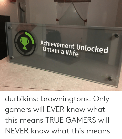 achievement unlocked: Achievement Unlocked  Obtain a Wife durbikins: browningtons:  Only gamers will EVER know what this means  TRUE GAMERS will NEVER know what this means