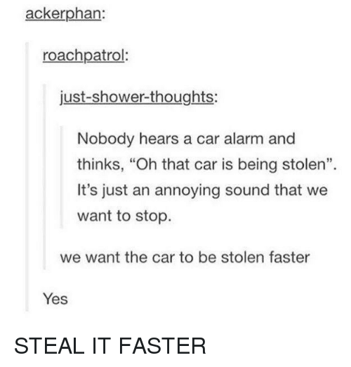 """Shower, Shower Thoughts, and Alarm: ackerphan:  roachpatrol  just-shower-thoughts:  Nobody hears a car alarm and  thinks, """"Oh that car is being stolen"""".  It's just an annoying sound that we  want to stop  we want the car to be stolen faster  Yes STEAL IT FASTER"""