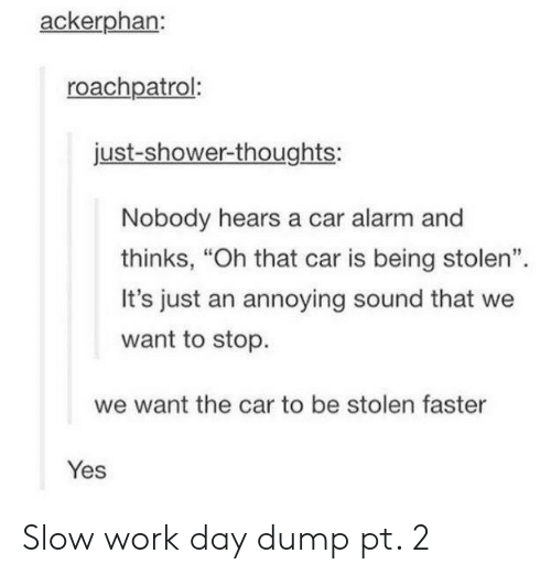"""car alarm: ackerphan:  roachpatrol:  just-shower-thoughts:  Nobody hears a car alarm and  thinks, """"Oh that car is being stolen"""".  It's just an annoying sound that we  want to stop.  we want the car to be stolen faster  Yes Slow work day dump pt. 2"""