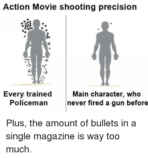 Fire, Guns, and Memes: Action Movie shooting precision  Every trained  Main character, who  Policeman  never fired a gun before Plus, the amount of bullets in a single magazine is way too much.