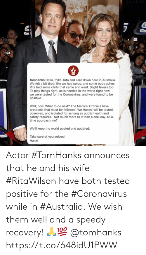 SIZZLE: Actor #TomHanks announces that he and his wife #RitaWilson have both tested positive for the #Coronavirus while in #Australia. We wish them well and a speedy recovery! �💯 @tomhanks https://t.co/648idU1PWW