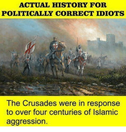 crusades: ACTUAL HISTORY FOR  POLITICALLY CORRECT IDIOTS  The Crusades were in response  to over four centuries of Islamic  aggression