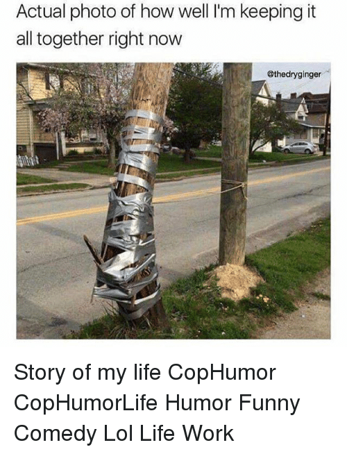 Memes, 🤖, and Story of My Life: Actual photo of how well l'm keeping it  all together right now  @thedryginger Story of my life CopHumor CopHumorLife Humor Funny Comedy Lol Life Work