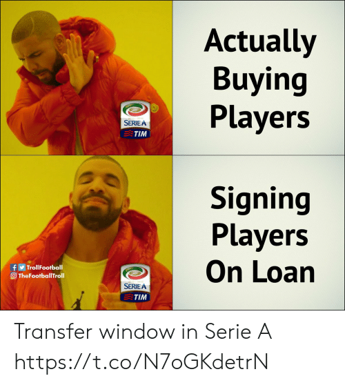 loan: Actually  Buying  Players  SERIE A  TIM  Signing  Players  On Loan  f TrollFootball  O TheFootballTroll  012-2013  SERIEA  TIM Transfer window in Serie A https://t.co/N7oGKdetrN