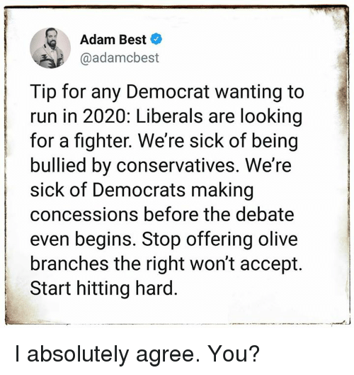 Memes, Run, and Best: Adam Best  @adamcbest  Tip for any Democrat wanting to  run in 2020: Liberals are looking  for a fighter. We're sick of being  bullied by conservatives. We'ree  sick of Democrats making  concessions before the debate  even begins. Stop offering olive  branches the right won't accept.  Start hitting hard. I absolutely agree. You?