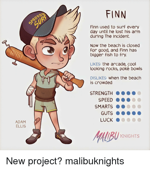 Finn, Memes, and Beach: ADAM  ELLIS  FINN  Finn used to surf every  day until he lost his arm  during The Incident.  Now the beach is closed  for good, and Finn has  bigger fish to fry.  LIKES  the arcade, cool  looking rocks, poke bowls  DISLIKES  When the beach  is crowded  STRENGTH  SPEED  SMARTS  GUTS  LUCK  KNIGHTS New project? malibuknights