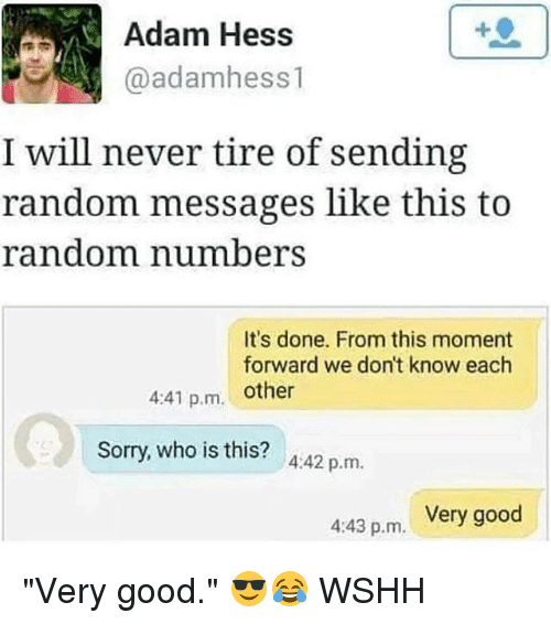 "Memes, Sorry, and Wshh: Adam Hess  @adamhess 1  I will never tire of sending  random messages like this to  random number  It's done. From this moment  forward we don't know each  4:41 p.m. other  Sorry, who is this? A:42 p.m.  Very good  4:43 p.m. ""Very good."" 😎😂 WSHH"