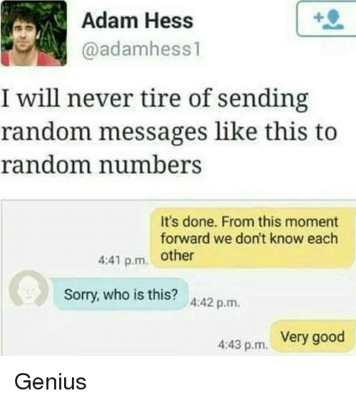 Genius, Good, and Girl Memes: Adam Hess  @adamhess  l will never tire of sending  random messages like this to  ers  It's done. From this moment  forward we don't know each  441 p.m. other  who is this? 4:42 p.m.  Very good  4:43 p.m. Genius