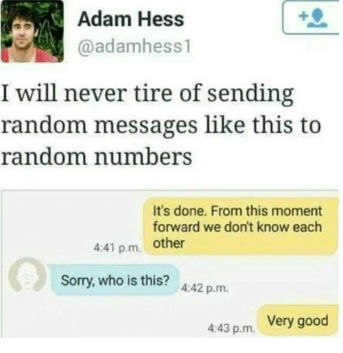 Dank, Sorry, and Good: Adam Hess  ./engl @adamhess1  I will never tire of sending  random messages like this to  random numbers  It's done. From this moment  forward we don't know each  4:41 p.m. other  Sorry, who is this? 442 p.m  Very good  4:43 p.m.