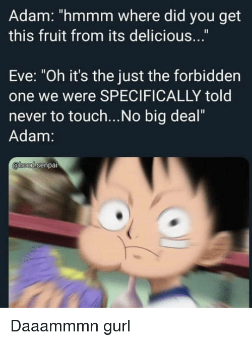 "no big deal: Adam: ""hmmm where did you get  this fruit from its delicious...""  Eve: ""Oh it's the just the forbidden  one we were SPECIFICALLY told  never to touch...No big deal""  Adam:  hoodsenpai Daaammmn gurl"
