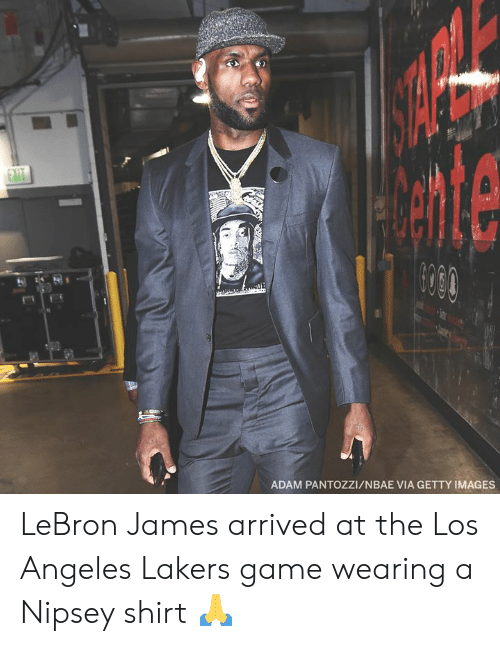 Los Angeles Lakers: ADAM PANTOZZI/NBAE VIA GETTY IMAGES LeBron James arrived at the Los Angeles Lakers game wearing a Nipsey shirt 🙏