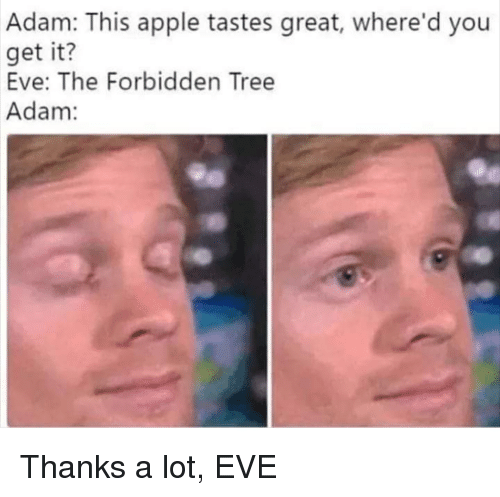 Apple, Tree, and Thanks a Lot: Adam: This apple tastes great, where'd you  get it?  Eve: The Forbidden Tree  Adam: Thanks a lot, EVE