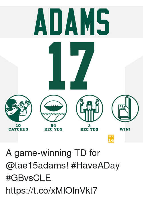 Memes, Game, and A Game: ADAMS  10  CATCHES  84  REC YDS  2  REC TDS  WIN!  WK  14 A game-winning TD for @tae15adams! #HaveADay #GBvsCLE https://t.co/xMlOlnVkt7