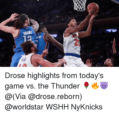 Memes, Worldstar, and Wshh: ADAMS  V4 Drose highlights from today's game vs. the Thunder 🌹🔥😈 @(Via @drose.reborn) @worldstar WSHH NyKnicks