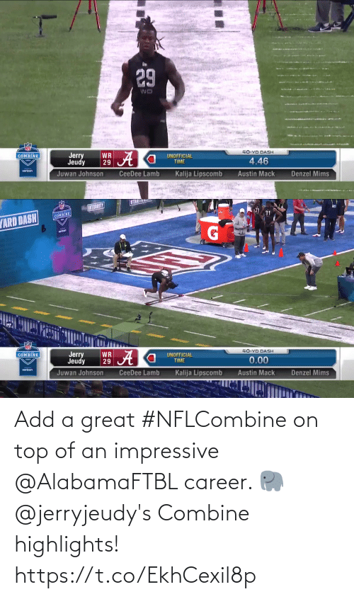 combine: Add a great #NFLCombine on top of an impressive @AlabamaFTBL career. 🐘  @jerryjeudy's Combine highlights! https://t.co/EkhCexil8p