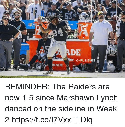 Football, Marshawn Lynch, and Memes: ADE  @NFL MEMES REMINDER: The Raiders are now 1-5 since Marshawn Lynch danced on the sideline in Week 2 https://t.co/I7VxxLTDlq