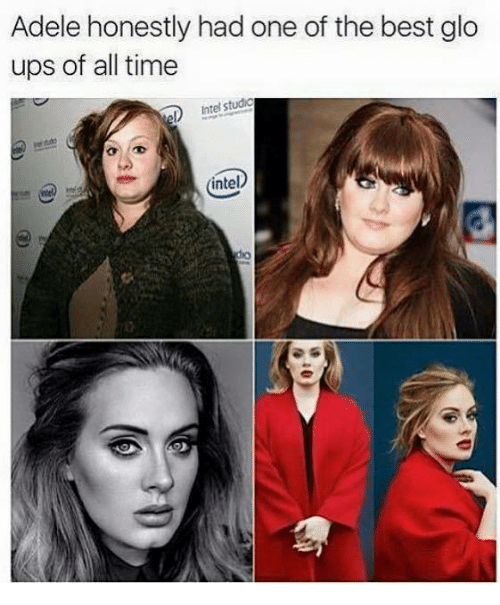 Glo up: Adele honestly had one of the best glo  ups of all time  eD studg  Intel intel