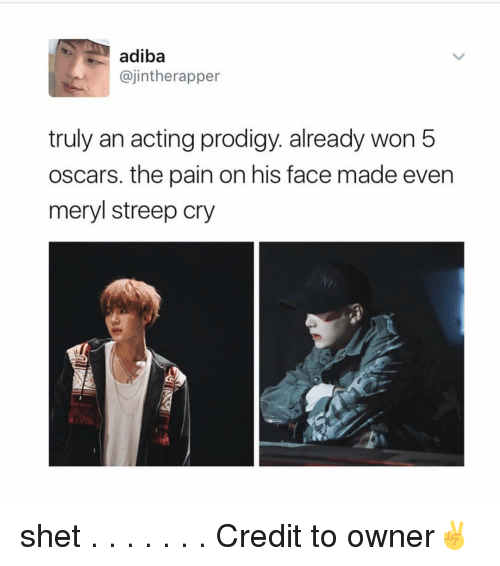 Memes, Meryl Streep, and 🤖: adiba  ajintherapper  truly an acting prodigy. already won 5  oscars, the pain on his face made even  meryl streep cry shet . . . . . . . Credit to owner✌