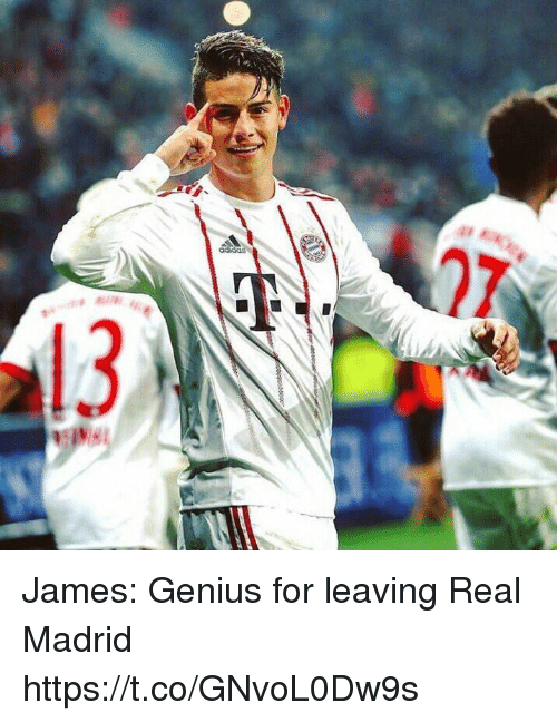 Adidas, Memes, and Real Madrid: adidas  13 James: Genius for leaving Real Madrid https://t.co/GNvoL0Dw9s