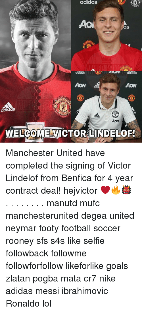 Adidas, Football, and Goals: adidas  Aol  aS  AON  AON  dd  adidas  AON  WELCOME VICTORLINDELOF! Manchester United have completed the signing of Victor Lindelof from Benfica for 4 year contract deal! hejvictor ❤️🔥👹 . . . . . . . . manutd mufc manchesterunited degea united neymar footy football soccer rooney sfs s4s like selfie followback followme followforfollow likeforlike goals zlatan pogba mata cr7 nike adidas messi ibrahimovic Ronaldo lol