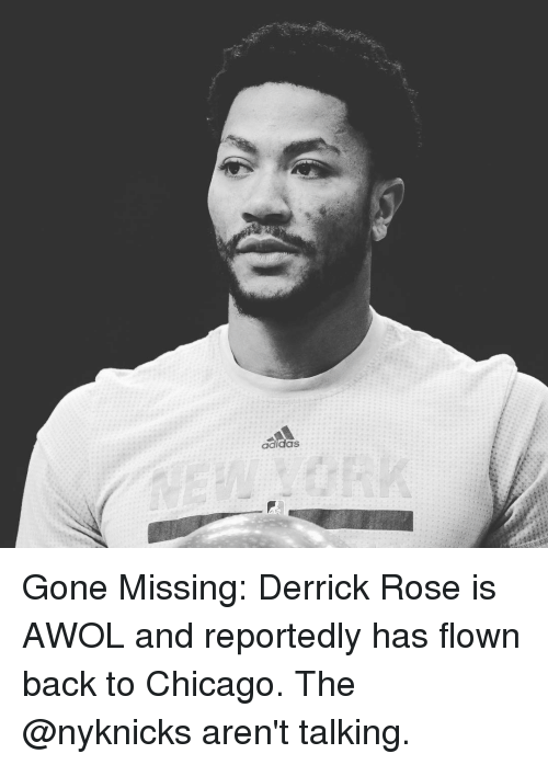 Adidas, Derrick Rose, and Memes: adidas Gone Missing: Derrick Rose is AWOL and reportedly has flown back to Chicago. The @nyknicks aren't talking.