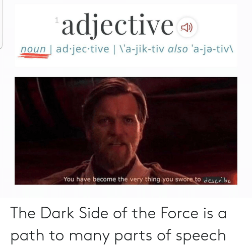 The Dark Side: adjective  noun ad jec tive | \'a-jik-tiv also 'a-ja-tivl  You have become the very thing you swore to describe The Dark Side of the Force is a path to many parts of speech